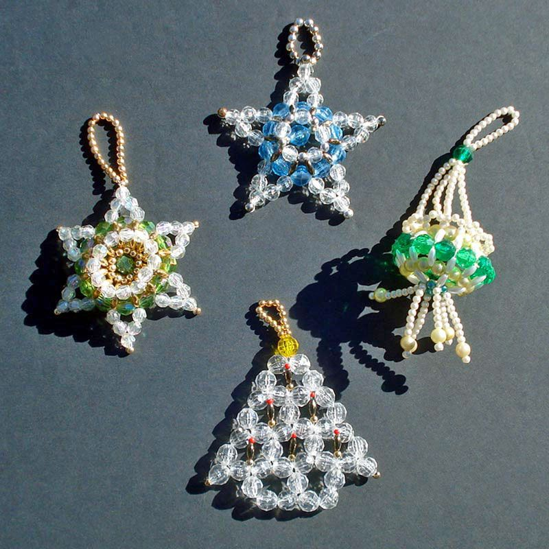 Beaded Christmas Ornaments.4 Hand Crafted Dimensional Beaded Christmas Ornaments