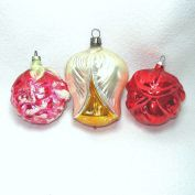 3 Glass Flower Bud Christmas Ornaments West Germany