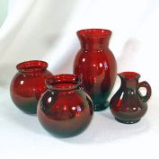 Anchor Hocking Royal Ruby 4 Glass Vases Plus Ruby Cruet