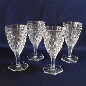 Fostoria American Set 4 Hex Foot Water Goblets