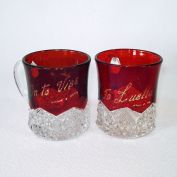Duncan Button Arches Pair EAPG Ruby Stained Souvenir Mugs
