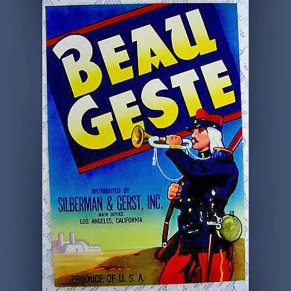 1930s Beau Geste French Soldier Produce Crate Label