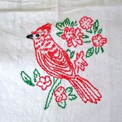 Hand Embroidered Red Birds Kitchen Curtains, 3 Panels