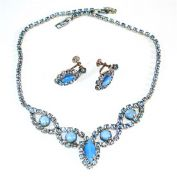 Blue Rhinestone and Moonglow Necklace Earrings Set