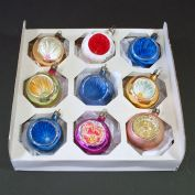 Poland Blown Glass Indent Christmas Ornaments in Box