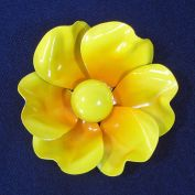 Big Bright Yellow Flower Power 1960s Enamel Pin Brooch