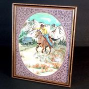 Cowboy on Horseback Framed Watercolor Painting