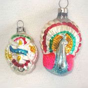 Czech Eagle Shield and Peacock Glass Christmas Ornaments