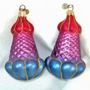 2 Dept 56 Figural Glass Botanical Christmas Ornaments Purples