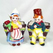 Pair Dutch Girl and Boy Ceramic Planters