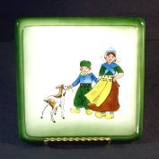 Ceramic Tea Trivet Hand Painted Dutch Children With Goat