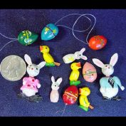 Lot of 12 Painted Wood Easter Miniature Figures