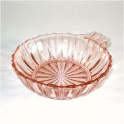 Hocking Fortune Pink Depression Glass Handled Dessert Bowl