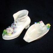 Germany Flowered Shoe Figurine or Vase and Canoe Ashtray
