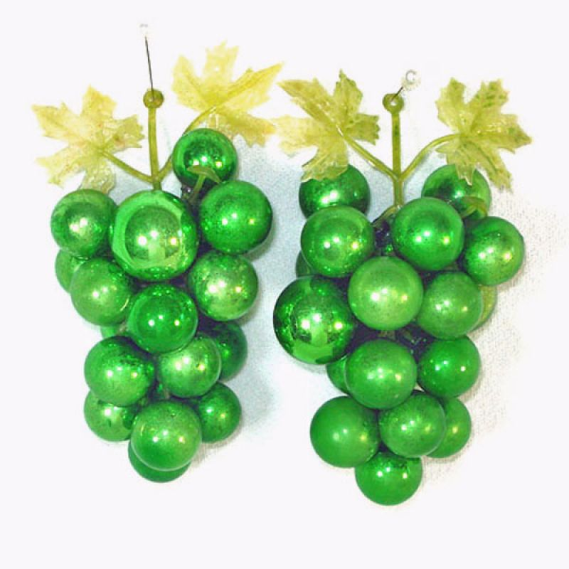Decorative Green Glass Grape Clusters With Christmas Ornaments - Copperton Lane: Decorative Green Glass Grape Clusters With Christmas