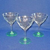 3 Standard Glass Daisy Cutting Green Stem Saucer Champagne Goblets
