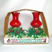 Christmas Ruby and Milk Glass Kerosene Oil Lamps