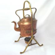Antique Copper Arts Crafts Tea Kettle on Brass Stand