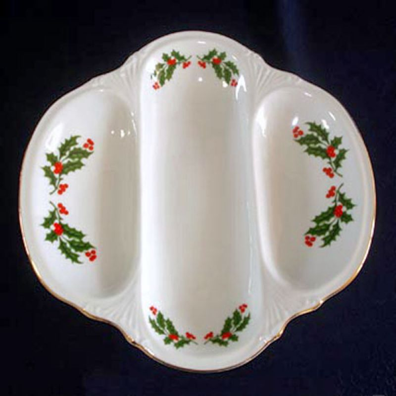 Christmas Holly was a Mid Century holiday porcelain dinnerware pattern produced by Kashima of Japan. This 3-section serving bowl or relish dish was part of ... & Copperton Lane: Christmas Holly Porcelain 3 Section Divided Serving ...