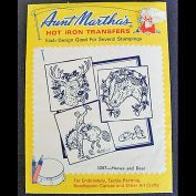 Cowboys, Horses, Deer Aunt Martha's Embroidery Transfers Sealed