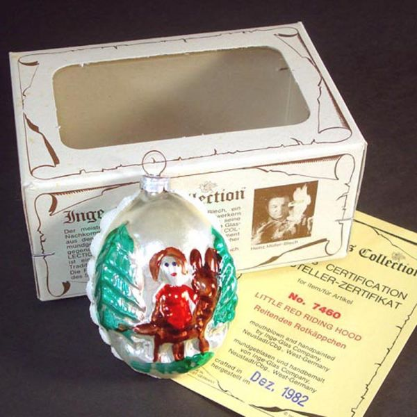 Inge 1982 Little Red Riding Hood Christmas Ornament Mint in Box