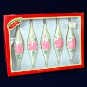 Box Hand Painted Pink Roses Icicle Drop Christmas Ornaments