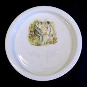 Bavarian Childs Baby Feeding Plate Naughty Pierrot Smoking Cigars