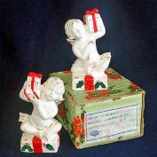Napco Christmas Cherubs Salt Pepper Shakers in Original Box