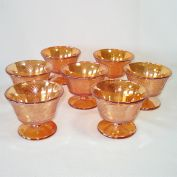 Federal Glass Normandie Iridescent Sherbets Set 7