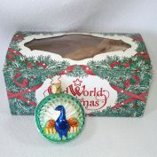 Embossed Peacock German Glass Christmas Ornament Mint in Box