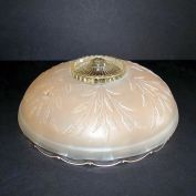 Frosted Peach Botanical Art Deco 3 Chain Glass Ceiling Shade