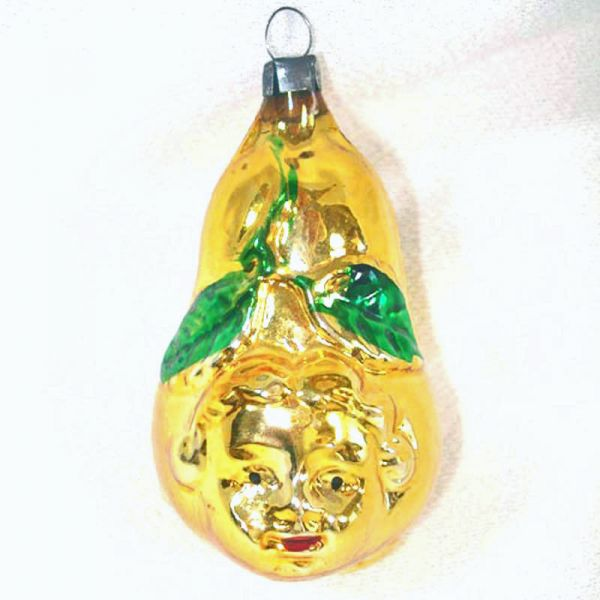 Girl's Face on Pear Glass Christmas Ornament