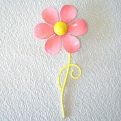 Enameled Pink Yellow Flower Power Brooch 60s Mod