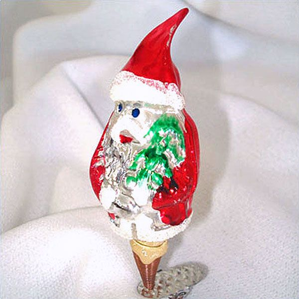 Santa Claus With Tree Clip On Glass Christmas Ornament