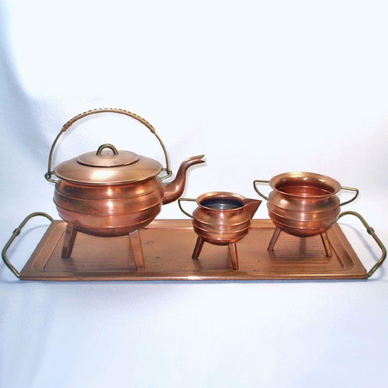 Tap to expand & Copperton Lane: Antique Copper Tea Set With Tray Tripod Leg Ringed ...