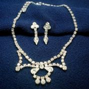 Clear Rhinestone Necklace and Screw Back Earrings