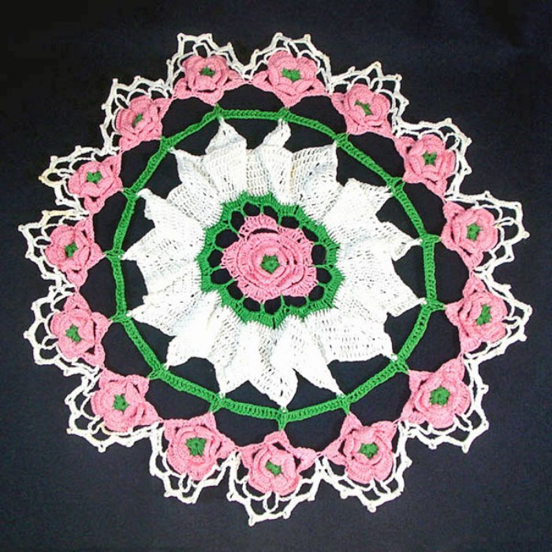 Copperton Lane: Pink and White 16 Inch Round Crochet Roses Doily ...