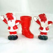 3 Hard Plastic Candy Containers Santa Claus and Boot
