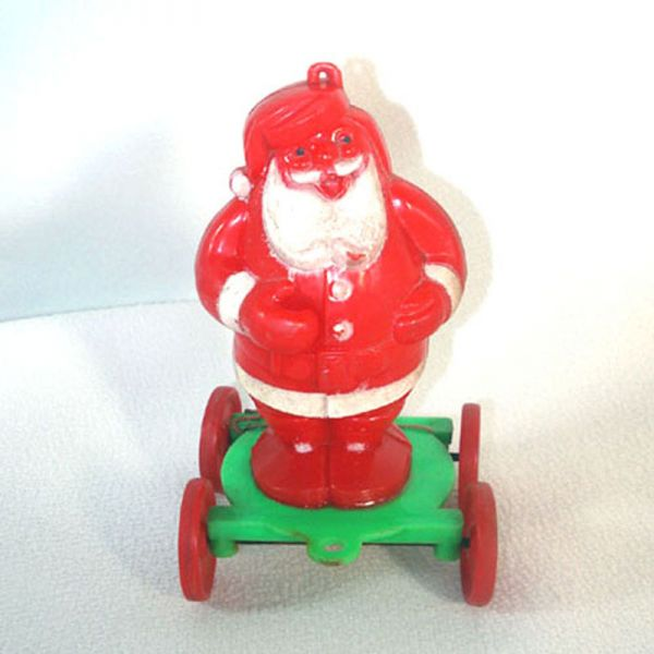 Rosen Santa on Wheels Christmas Candy Container Pull Toy