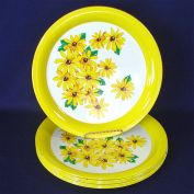 1950s Tin Litho Dinner Plates Trays Brown Eyed Susan Set of 8