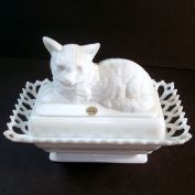 Westmoreland Milk Glass Covered Cat Dish Rectangular Lacy Base