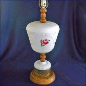 Milk Glass Roses and Wood 1950s Large Table Lamp