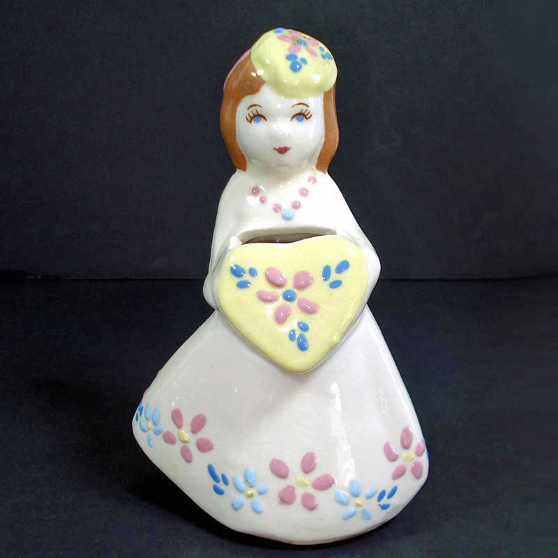 Copperton Lane California Pottery Weil Ware Lady With Heart Flower