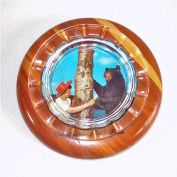 Yellowstone Park Souvenir Glass and Wood Picture Ashtray